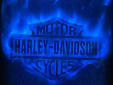 Harley-Davidson Logo with Blue Fire