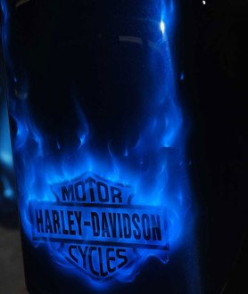 Harley-Davidson Logo with Blue Fire
