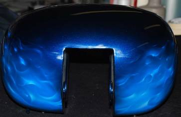 Blue Real Fire on Harley Tins