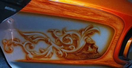 Wood Grain, Floral and Skulls