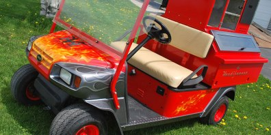 Three Quarter Shot of Custom Painted Golf Cart
