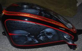 left side tank, skulls, pinstripe, copper leaf graphic