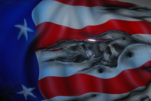 Zoom of Torn Flag with Skulls (Tank)
